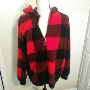 Buffalo check fleece zip up hoodie. XL